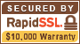 Secured by RapidSSL $10,000 Warrenty