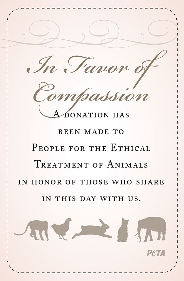 Wedding Favors Of Compassion Donate Now Peta